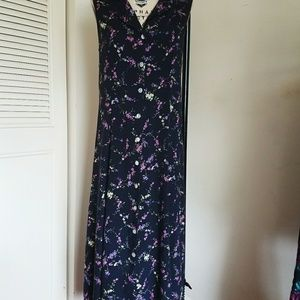 90s rayon floral dress